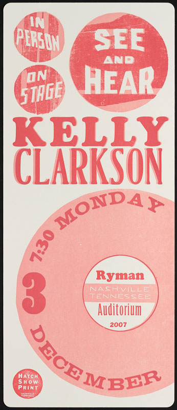Hatch Show Print Kelly Clarkson at Ryman Auditorium Poster