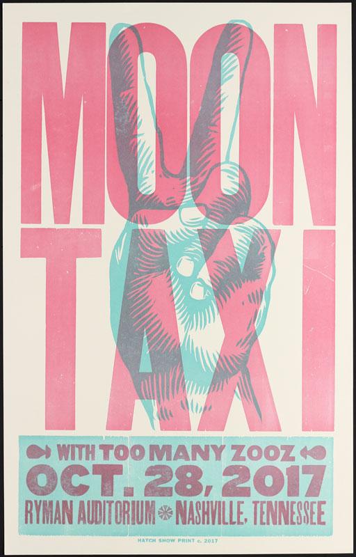 Hatch Show Print Moon Taxi at Ryman Auditorium Poster