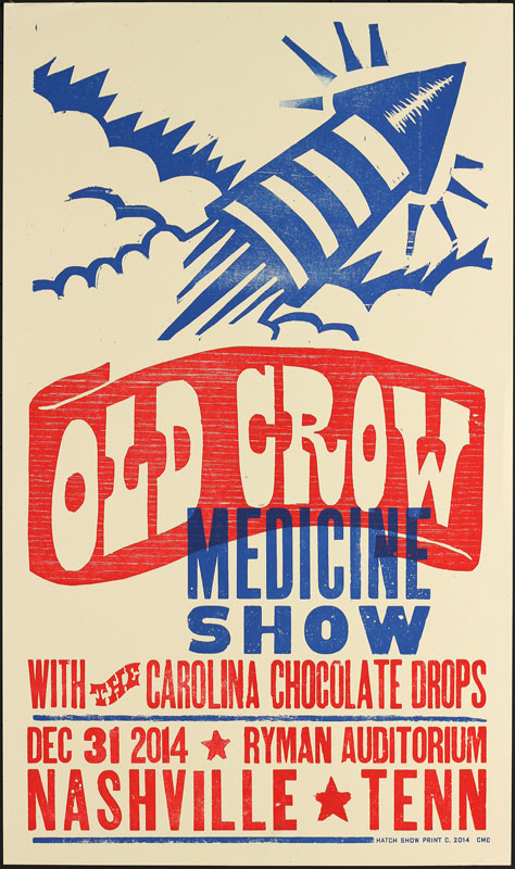 Hatch Show Print Old Crow Medicine Show New Year's Eve at Ryman Auditorium Poster