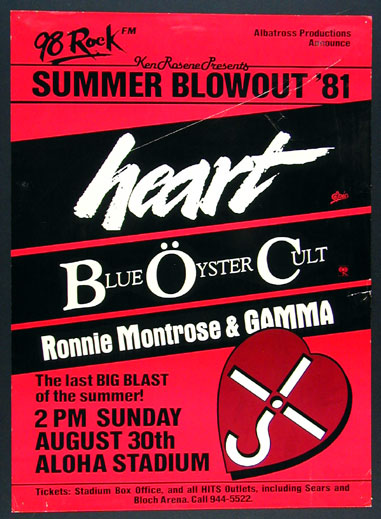 Summer Blowout '81 Heart  Blue Oyster Cult  Montrose in Hawaii Poster
