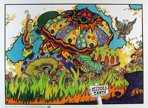 Middle Earth - Psychedelic  Mushrooms And  Butterflies Poster