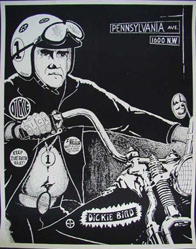 Richard Nixon On His Hog! - Dickie Bird Poster