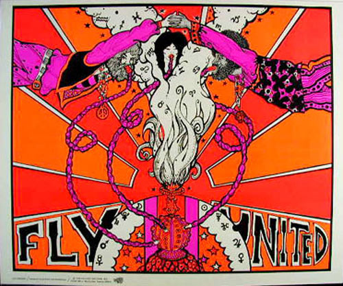 Fly United - Colorful And Unusual Hookah Blacklight  Poster