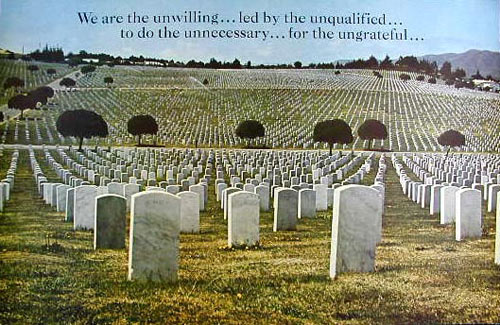 We Are The Unwilling... Cemetery Scene Vietnam War Protest Poster