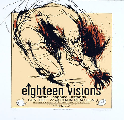 Derek Hess Eighteen Visions Poster