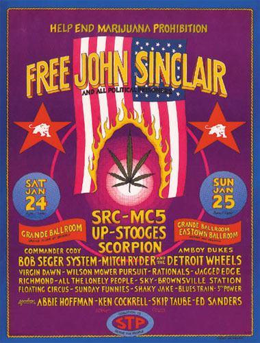 Gary Grimshaw Free John Sinclair with SRC, MC5 and The Stooges Poster