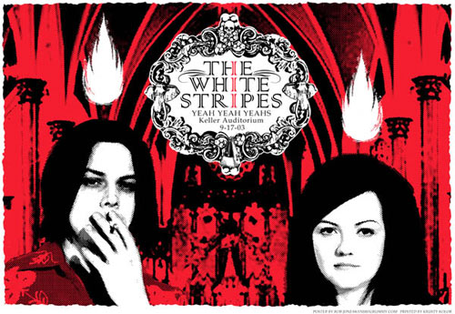 Rob Jones White Stripes Portland 2003 Poster