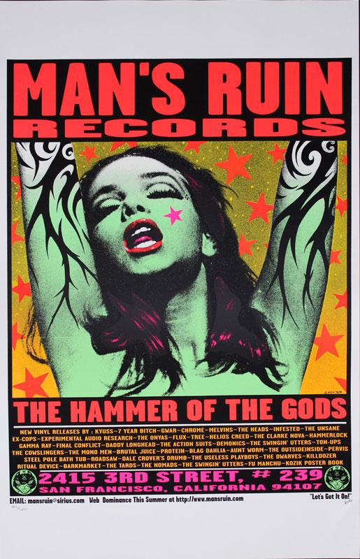Frank Kozik Man's Ruin Records - The Hammer of the Gods Poster