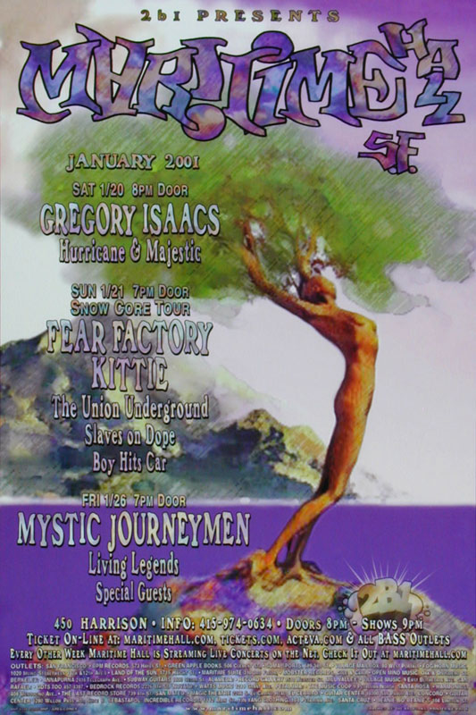 Greg Coiner Fear Factory at Maritime Hall - Gregory Isaacs Living Legends Kittie MHP #108 Poster