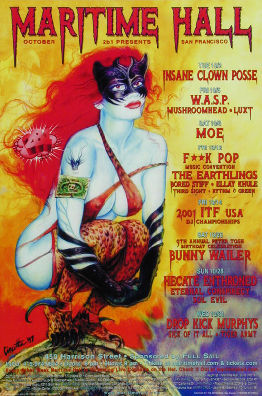 Cincotta Insane Clown Posse at Maritime Hall - W.A.S.P. moe. Hecate Enthroned Dropkick Murphys Sick of it All MHP #129 Poster