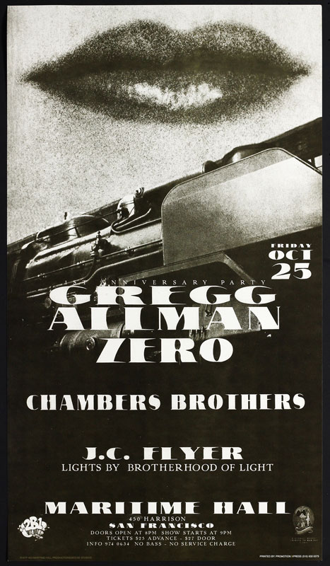Stanley Mouse Gregg Allman at Maritime Hall - Zero Chambers Brothers MHP #23 Poster