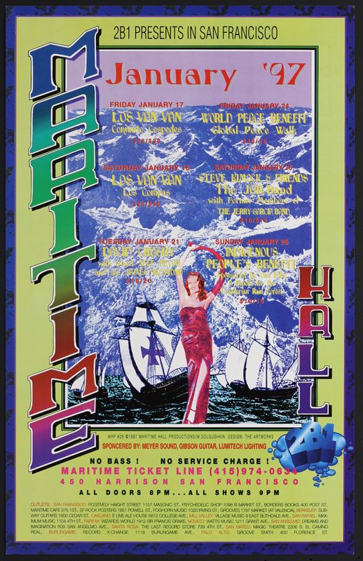 Mike Dolgushkin David Crosby at Maritime Hall - Los Van Van Steve Kimock The JGB Band MHP #26 Poster