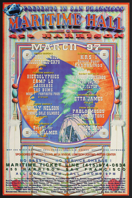 G.B. Coiner Willie Nelson at Maritime Hall MHP #28 Poster