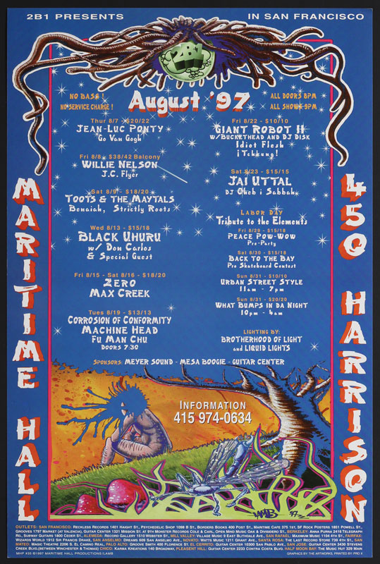 Lamb Willie Nelson at Maritime Hall - Toots and the Maytals Fu Manchu Buckethead MHP #35 Poster
