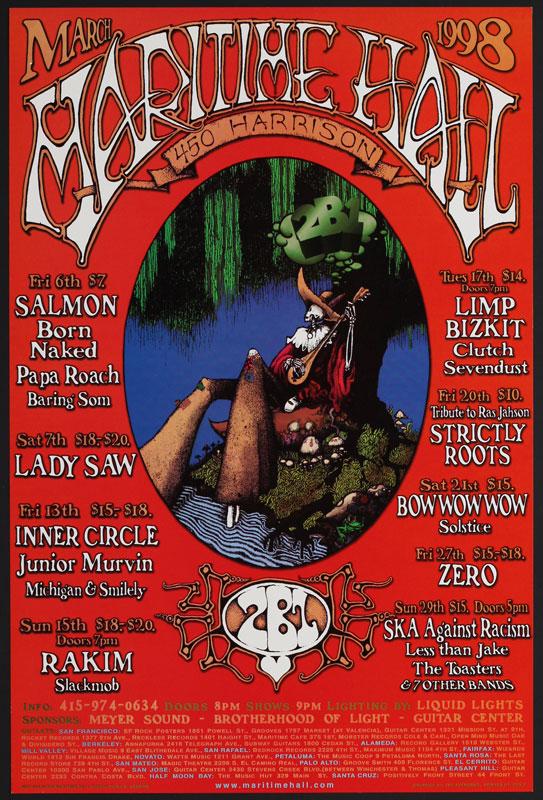 Dave Huckins Clutch at Maritime Hall - Limp Bizkit Rakim Less Than Jake Papa Roach MHP #44 Poster