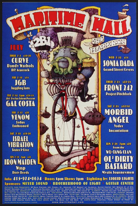 Dave Huckins Iron Maiden at Maritime Hall - Ol' Dirty Bastard Morbid Angel Venom JGB MHP #48 Poster