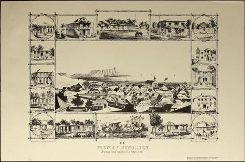 Paul Emmert Honolulu 1854 Historical Illustration Poster