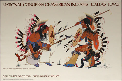 Antowine Warrior National Congress of American Indians at Dallas Texas Poster