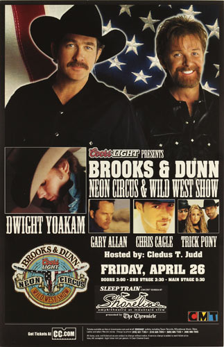 Brooks and Dunn Neon Circus and Wild West Show Tour Poster