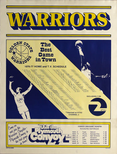 Golden State Warriors 1976-77 Basketball Schedule Poster