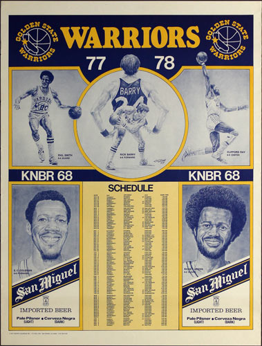 Golden State Warriors 1977-78 Basketball Schedule Poster
