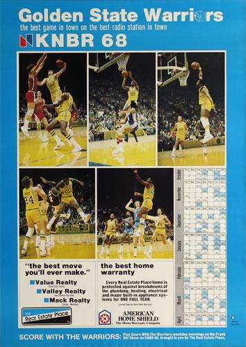 KNBR 68 Radio - Golden State Warriors 1977-78 Basketball Schedule Poster