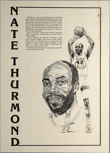Nate Thurmond Golden State Warriors Basketball Poster