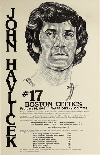 John Havlicek of Boston Celtics Basketball Poster
