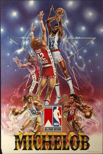 Kareem Abdul Jabaar Michelob Beer - NBA All Star Voting Basketball Poster