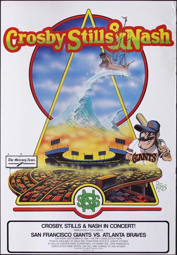 Crosby Stills and Nash - Giants vs. Braves Baseball Poster