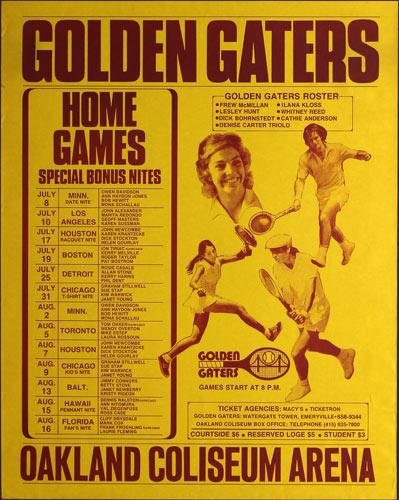 Golden Gaters 1974 Tennis Schedule Poster