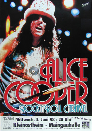 Alice Cooper Rock N' Roll Carnival German Concert Poster