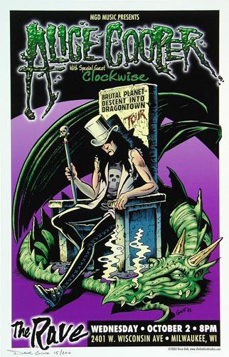 Dave Gink Alice Cooper Brutal Planet - Descent into Dragontown Tour Poster