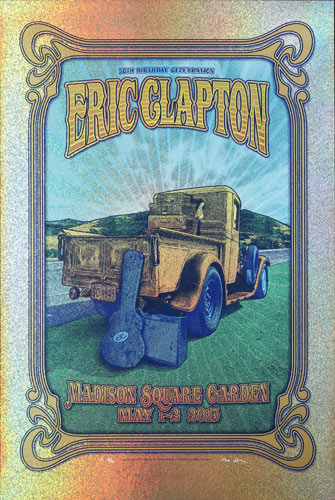 Dave Hunter - Gammalyte Press Eric Clapton 70th Birthday CelebrationRare microdot foil variant Poster