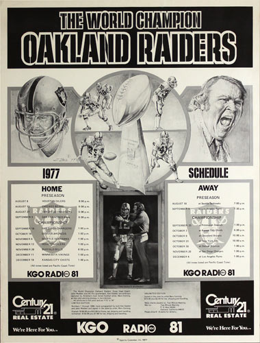 Oakland Raiders 1977 World Champions Football Schedule Poster