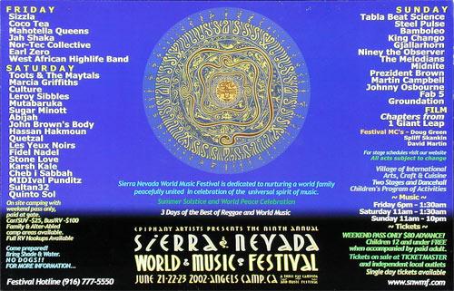 Sierra Nevada World Music Festival 2002 Poster