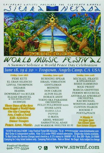 11th Annual Sierra Nevada World Music Festival Poster