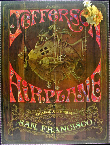 Jefferson Airplane Wood Background Fillmore  Poster