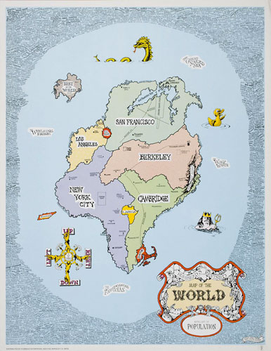 Rick Shubb Humbead's Revised Map of the World 1969 Hippie Counterculture Map Poster