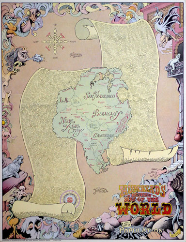 Rick Shubb Humbead's Revised Map of the World 1970 Hippie Counterculture Map Poster