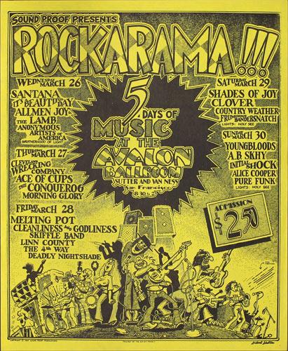 Gilbert Shelton Rockarama featuring Santana and Alice Cooper Poster