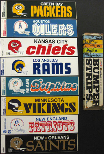 Pro sport souvenir vinyl bumper strip made by asco inc in the 70s measures 3 3 4 inches by 15 inches this is new old stock we found in our warehouse