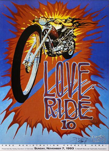 Stanley Mouse Harley-Davidson Love Ride 10 1993 Poster - signed