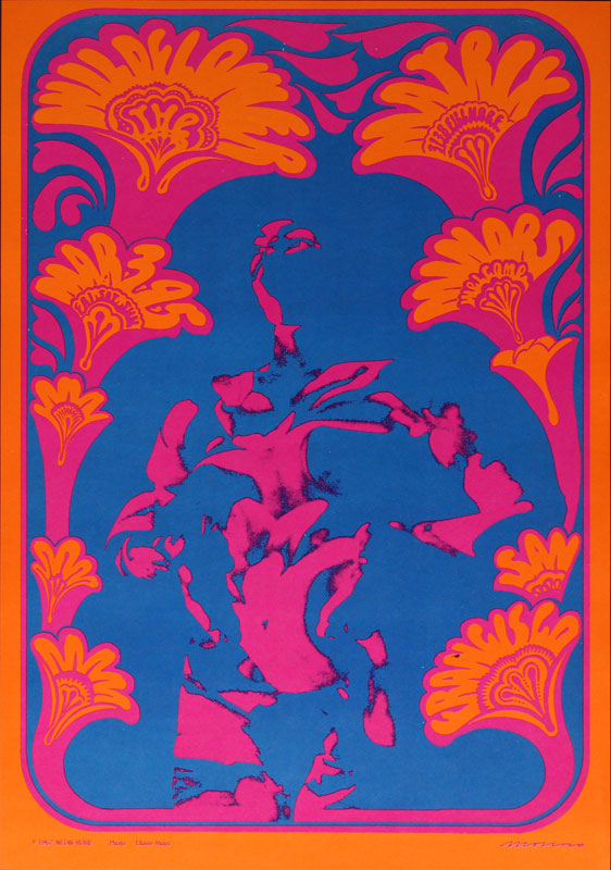 Victor Moscoso NR # 9-2 Wildflower Neon Rose NR9 Poster