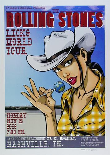 Joe Whyte Rolling Stones 2002 Nashville Poster
