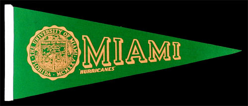 University of Miami Hurricanes Pennant