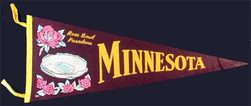 University of Minnesota Rose Bowl Champions Pennant