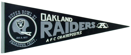 Oakland Raiders Super Bowl XI 1977 Football Pennant