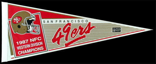 San Francisco 49ers 1987 NFC West Champions Football Pennant