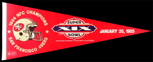 San Francisco 49ers Super Bowl XIX 1985 Pennant
